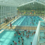 OpenAire's retractable roof over the pool at The Royal Glenora Club in Edmonton, Alberta.