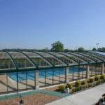 OpenAire's retractable roof over the pool at Stock Brook Manor in Billericay, England.