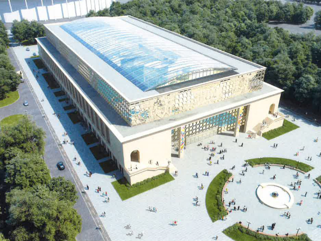 OpenAire's retractable roof over the pool at Luzhniki Olympic Stadium in Moscow, Russia.