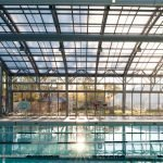 OpenAire's retractable roof over the pool at Toronto's Cricket Club in Ontario.