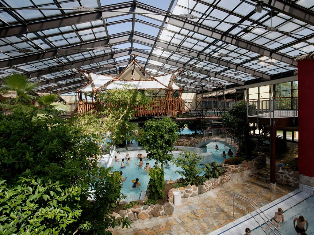 OpenAire's retractable roof over Tropicana Waterpark in Stadthagen, Germany.