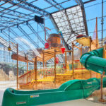 OpenAire's retractable roof over Pirate's Cay Waterpark at Silverleaf Resorts in Sheridan, Illinois.