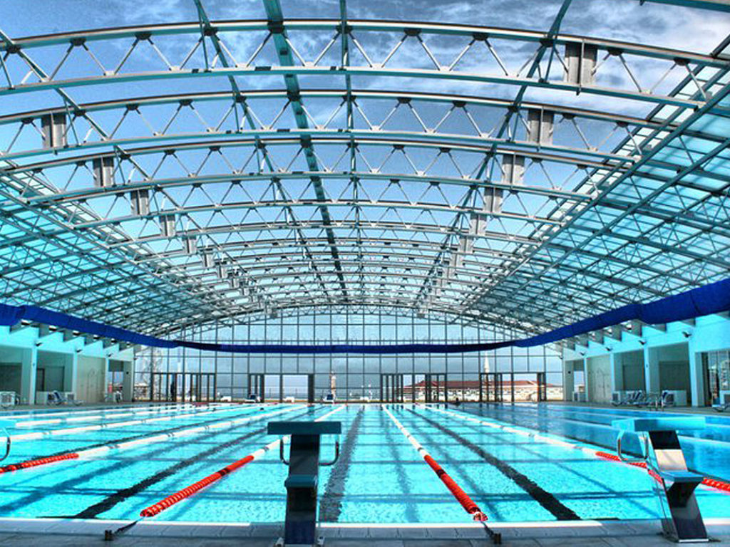 OpenAire's retractable roof over the pool in Batumi Plaza in The Republic of Georgia.