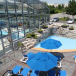 OpenAire's retractable roof over the pool at the Ontario Racquet Club in Mississauga, Ontario.