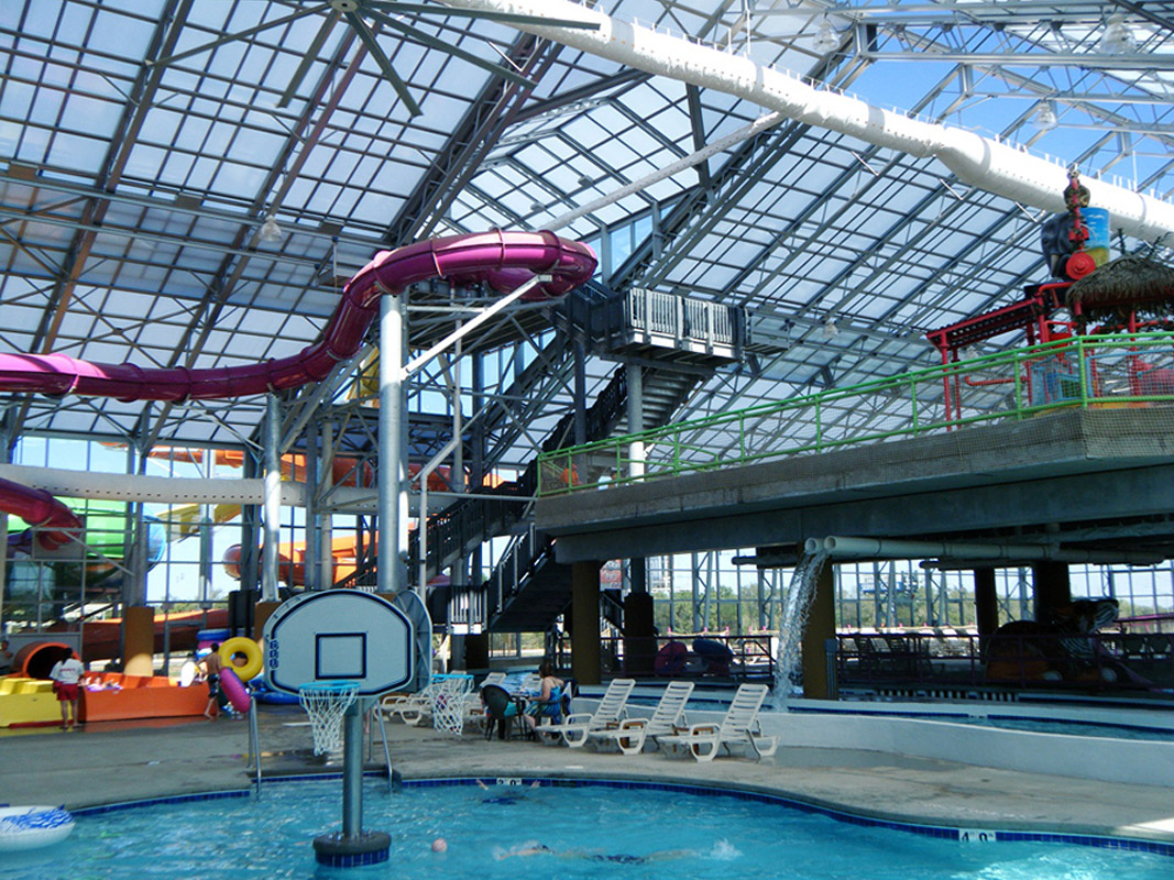 OpenAire's retractable roof over the Water-Zoo Waterpark in Clinton, Oklahoma.