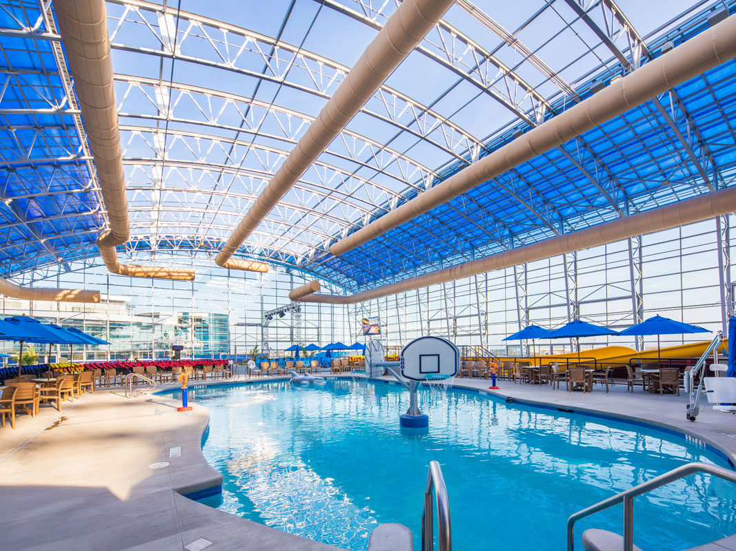 OpenAire's retractable roof over Epic Waters Waterpark in Grand Prairie, Texas - the biggest retractable roof over a waterpark in the world!