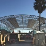 The Plunge Pool at Belmont Park, San Diego; new aluminum curved retractable roof enclosure shown under construction